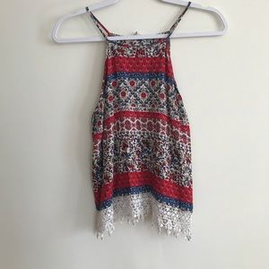 3 FOR 15 Multicolored fringe high neck tank top
